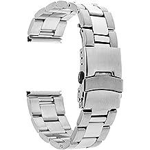TRUMiRR 22 mm de acero inoxidable reloj de Seguridad de la banda de la hebilla de la correa para Samsung Gear S3 Classic Frontier, Gear 2 R380 R381 R382, Moto 2 360 46mm, Guijarro Tiempo / Acero, Asus ZenWatch 1 2 Los hombres, LG G Reloj urbano W150, Huawei Watch 2 (Classic)