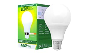 Kenyon® 9W B22 LED Bulb, Warm White (2,700 Kelvin) – A Classic Bulb Re-Mastered with LED Technology, High-Quality Build, Long-Lasting and Environmentally Friendly – 800 Luminous Flux, 75W Incandescent Equivalent, Bayonet Cap, Non-Dimmable