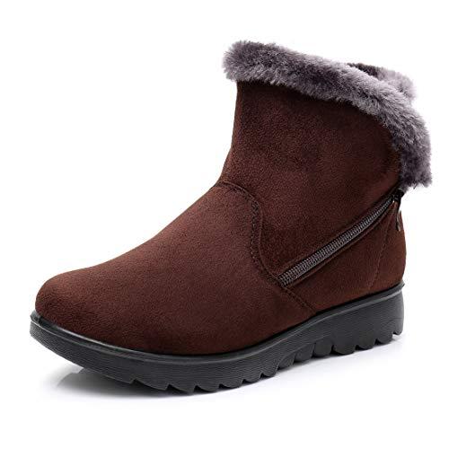 HAINE Ladies Cushion Walk Lotti Faux Suede Buckle Detail Warm Faux Fur Sheepskin Lined Flat Chelsea Ankle Boots Brown Size 4.5 UK -