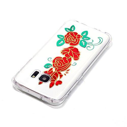 Samsung Galaxy S7 Coque,Samsung Galaxy S7 Gel Motif métallique TPU Case Feeltech Apple iPhone SE Case Silicone Clair Ultra Mince Premium Bumper iPhone 5S Housse Légère Étui Protecteur Transparente Sou Rose rouge