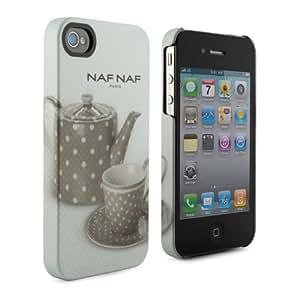 """NAF NAF Coque rigide """"Théière"""" grise pour iPhone 4/4S"""