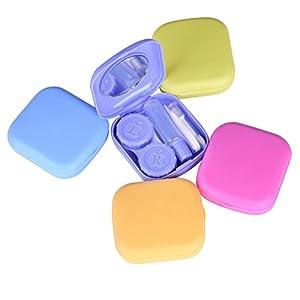 Hosaire Spiel Notebook Mini Reiseset Box Fall von Kontaktlinsen linsen mit klein Spiegel Pinzette Applikator und Objektiv-Box Flasche Lösung, quadratisch,Farbe zufällige