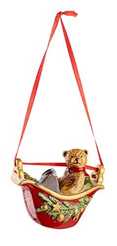 Villeroy & Boch mychristmas Tree Kabine Riesenrad Teddy, Porzellan, Rot, 30x 20.5x 6.5cm