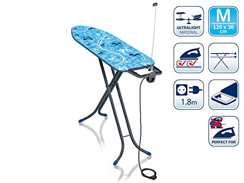 Leifheit Air Board M Compact Plus Dampfbügeltisch, für Dampfbügeleisen, ultraleichtes Bügelbrett, für gute Ergebnisse in kurzer Zeit
