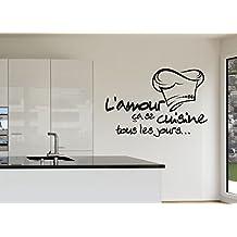 Cocina francesa Reomvable Pegatinas Vinilo Adhesivo Pared Pegatinas Papel tapiz Arte Mural Adhesivo Adhesivo de pared de la cocina decoración