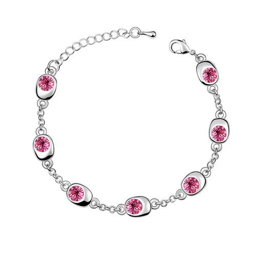 Unbekannt elegante e raffinato, placcato oro, ipoallergenico, braccialetto con cristalli e ornamenti con diamante (rosa).