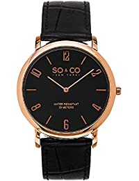 So & Co New York Madison Men's 5043.3999999999996 Quartz Watch with Black Dial Analogue Display and Black Leather Strap