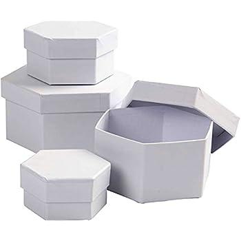 4 White Paper Mache Oval Stacking Boxes Largest 16x7cmPapier Mache Boxes