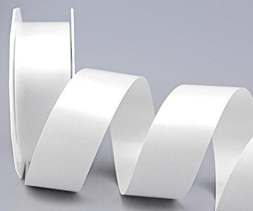 Polyband WEISS 40 mm x 90 m (Rolle) Geschenkband Dekoband 4 cm Glanzband WETTERFEST Schleifenband Kartengestaltung Ringelband Basteln