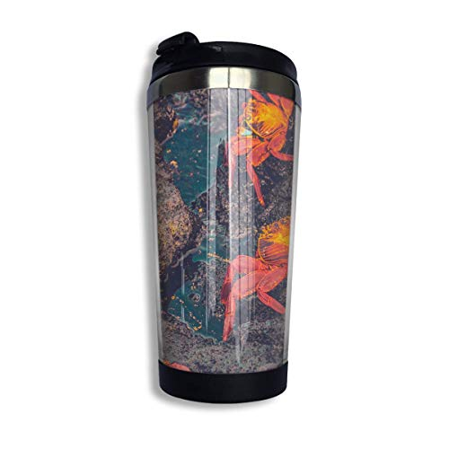 QIUJUAN Stainless Steel Coffee Mugs Wallpaper Crabs Travel Coffee Thermal Mug 10 Oz (400ml) Insulated Cup Perfect for Travel, Camping, Hiking, The Beach and Sports