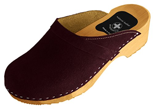 Natural Line, Zoccoli donna Maroon (Suede)