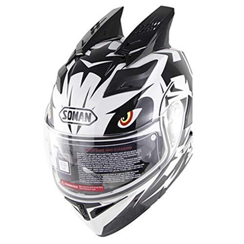 QIXING Caschi Modulari da Moto, Casco Integrale Apribile con Orecchie A Doppio Coniglio, Doppio Specchio Anti-UV, Bianco Nero,S(55cm~56cm)