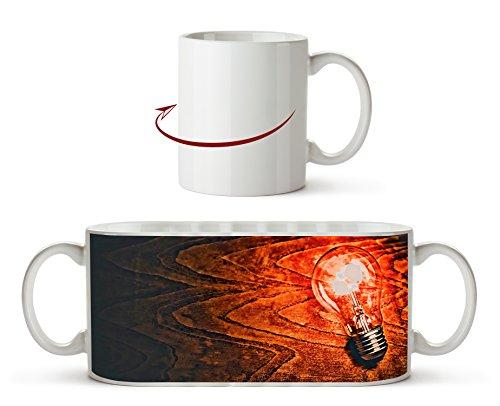 leuchtende Glühbirne Effekt: Zeichnung als Motivetasse 300ml, aus Keramik weiß, wunderbar als...