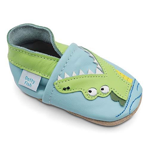 Dotty Fish weiche Leder Babyschuhe mit rutschfesten Wildledersohlen. 2-3 Jahre (25 EU). Hellblauer Schuh mit Krokodil. Kleinkind Schuhe. -