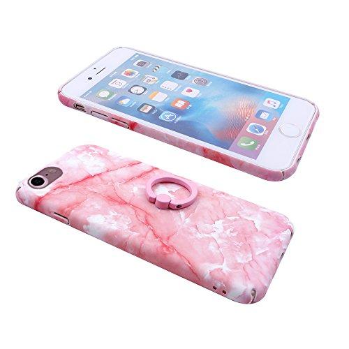 iProtect Hardcase mit Ring Blüten Schutzhülle in Transparent Schwarz mit Fingerhalterung für Apple iPhone 7, iPhone 8 Marmor Pink