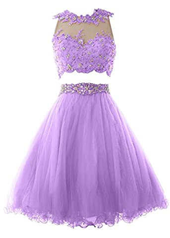 MACloth Women Two Piece Lace Tulle Short Prom Dress Homecoming