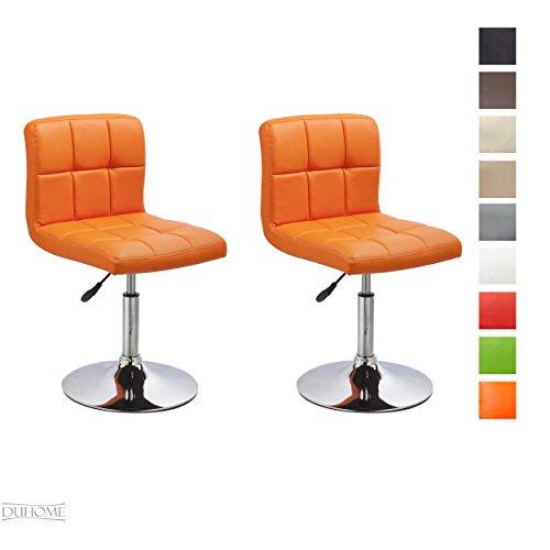 Duhome Elegant Lifestyle® 2er Set Moderner Esszimmerstuhl Orange Kunstleder Küchenstuhl Höhenverstellbar Drehbar Stuhl Farbauswahl - Typ 451N (Küchenstuhl Retro)