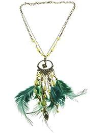 daede1fd1648 Collar Antiguo de Color Dorado con Colgante Verde - Collar con Colgantes de  Plumas Verdes -