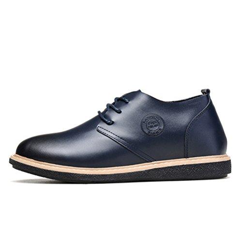 Chaussures élévatrices pour hommes à grande hauteur Chaussures décontractées en cuir véritable en cuir véritable Bleu