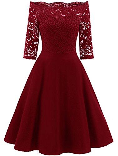 Mallimoda donna senza spalline vestito retro slim floreale pizzo abiti da sera cocktail vestiti rosso l