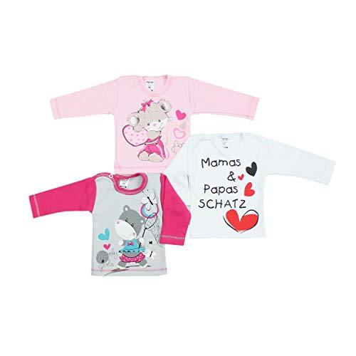 TupTam Unisex Baby Langarmshirt mit Spruch Aufdruck 3er Set, Farbe: Mädchen, Größe: 56