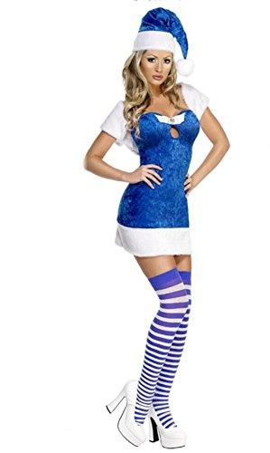 Internationales Party Show Kostüm - Marcus R Caveggf FräUlein Frauen Weihnachtsmann KostüM WeihnachtskostüM Party-Performance-Kleidung Blaue Show KostüM