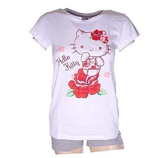 Schlafanzug Damen Pyjama kurz Hello Kitty Mouse Shorty Set - Weiß/Grau (L)