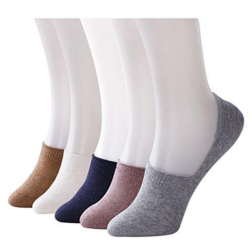 Knöchel-wrap-flat (Sweet Nana Damen nahtlose No Show Liner Socks 5 dass Paare Low Cut Premium Baumwolle lässig Anti Rutsch Alltag)