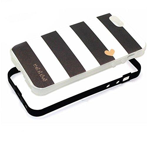 MOONCASE iPhone 5C Coque, Glitter Sparkle Bling Étui Coque pour iPhone 5C Soft Coloré Motif TPU Gel Souple Case Housse de Protection Yellow Stripe Black Stripe