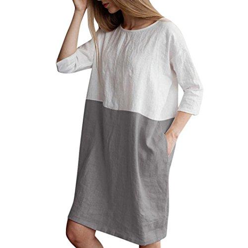 Pingtr Femme Robes Linge de Coton Patchwork Robe en Lin en Coton avec Poche Élégant Slim 1/2 Manches Fête Rétro Doux Confortable Plage Chemise Longu