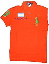 Polo by ralph lauren polo pour homme team, argentina, custom fit basic mesh, diver orange