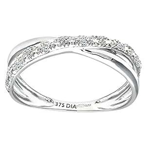 Naava 9 ct White Gold 0.05 ct Diamond Kiss Ring