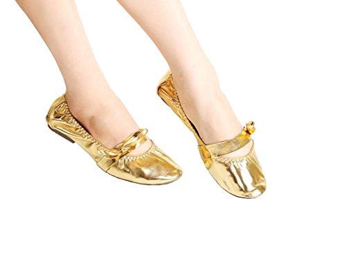 Mintice™ Glänzende Bauchtanz Gymnastik Schuhe Ballettschuhe Ballerina Balletschläppchen Erwachsene Jazz Karneval Indien Tanzschuhe Gold