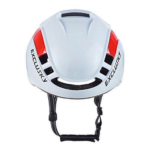 Exclusky Erwachsene Fahrradhelm 56/61cm (weiß Rot) - 3