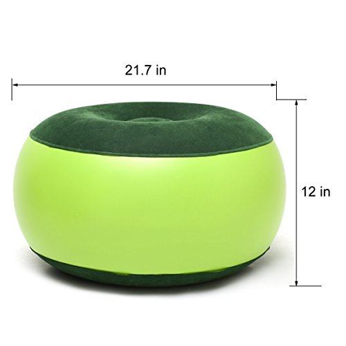 CHUANGB Aire Silla Resistente Equilibrio portátil al Aire Libre Silla de Camping Hinchable Taburete reposapiés Cojín para Oficina en casa Yoga, Verde