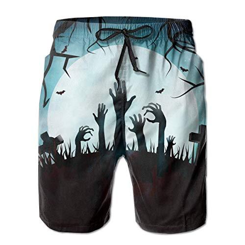 Bañadores para Hombre Happy Halloween Zombie Cemetery Pantalones Cortos de Playa de Secado rápido...