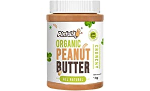 Pintola Organic All Natural Crunchy Peanut Butter, 1Kg (Unsweetened, Non-GMO, Gluten Free, Vegan)