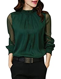 Weihnachten Langarmshirt Sweatshirt Christmas Top Frauen Casual Bluse  Vintage Langarm Chiffon T-Shirt Sommer Herbst Blumen… 634b5f33a5