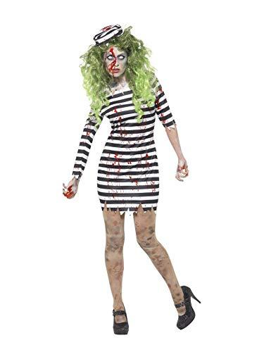 Vogel Dress Kostüm Fancy - Smiffys 45523S - Damen Zombie Gefängnis Vogel Kostüm, Kleid und Hut, Größe: 36-38, schwarz