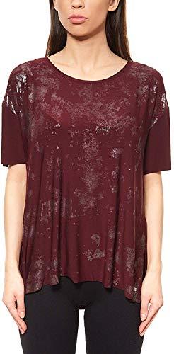 Laura Scott Damen Shirt Top Metallic T-Shirt Freizeit Rundhals Rot, Größenauswahl:32/34 -