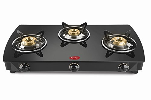 Pigeon 3 Burner Glass Top Gas Stove With Heavy Brass Burner