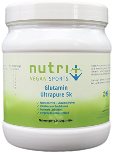 L-Glutamin Pulver 500g hochdosiert ohne Zusätze - optimale Bioverfügbarkeit - Muskelaufbau & Regeneration - Nutri-Plus Vegan Sports Ultrapure 5k