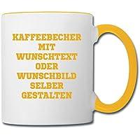 Zwei Farbige Wunschtext Tasse Gelb/Weiss bedrucken lassen mit eigenen Text, Foto oder Motiv. Tasse Kaffeebecher Kaffetasse Kaffeepott Geschenk Geschenkidee Personalisierte Fotogeschenke