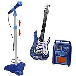 MRKE 3 en 1 Guitare Micro Ampli Set Jouet pour Enfant Garçon et Fille 3-8 Ans (Bleu)