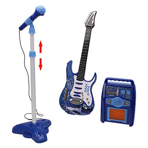 Yvsoo Guitarra Electrónica Juguete con Karaoke Micrófono y MP3 Reproductor Playsets para Niños (Azul)