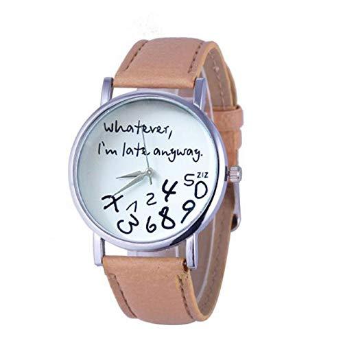 Galy Brief Muster Damen Armbanduhr Einfach Lässig Damen Uhr Rundes Zifferblatt Schlanke Uhr Mode Frauen Armbanduhr Wasserdichte Damen Uhr Quartz Damen Uhr Leder Analog Women Watch