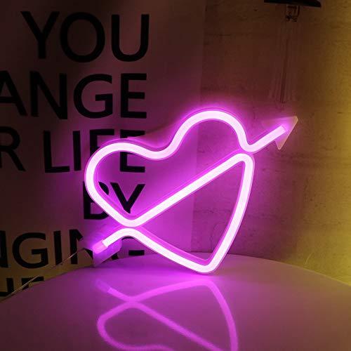 ENUOLI Rosa LED Neon Light LED Amor Bow-Zeichen geformt Dekor-Licht-Herz Nachtlampen Liebe Marquee Brief Geschenke Zeichen für Weihnachten Geburtstags-Party Kinderzimmer Wohnzimmer Hochzeit Valentins - Neon-licht Zeichen
