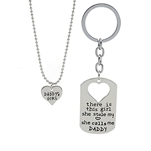 Fun Daisy Daddy's Girl Little Heart Necklace and Dog Tag Keychain Set , There's This Girl Who Stole My Heart She Calls