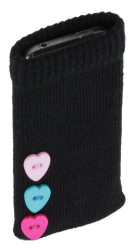 Trendz Universal Smartphone Handysocke - schwarz mit Herzknopf