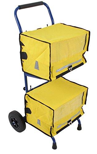 Zeitungswagen mit 2 gelben Zeitungstaschen - Zeitungstaschen eignen sich für Zeitungswagen und Fahrrad ★ Zustellerbedarf für Zeitungszusteller